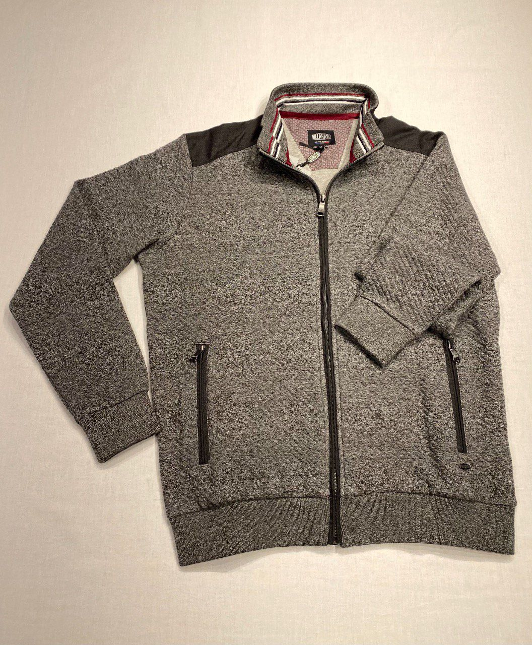 GILET  ZIPPE DELAHAYE  GRIS CHINE POCHES  ZIPPEES