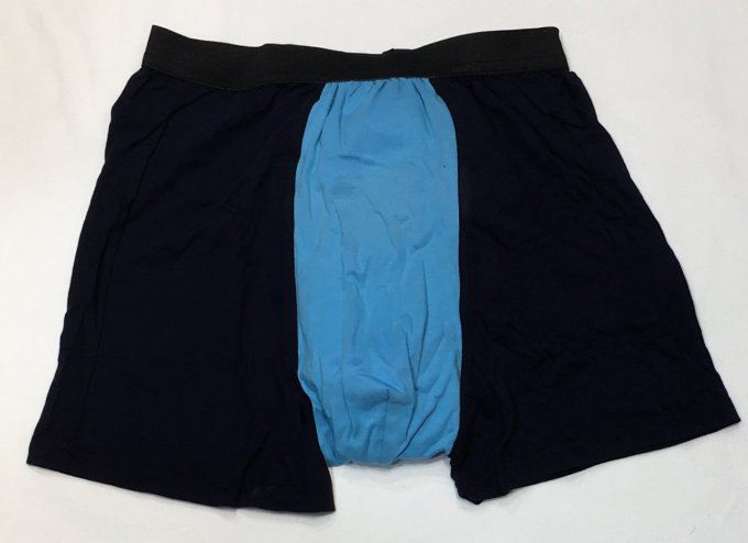 CALECON BOXER MI LONG FLORISCH TAILLE HAUTE STRETCH TURQUOISE/MARINE